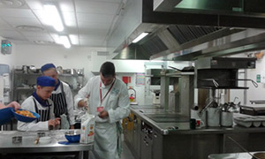 Pasta making in the kitchens at Highbury City of Portsmouth Centre