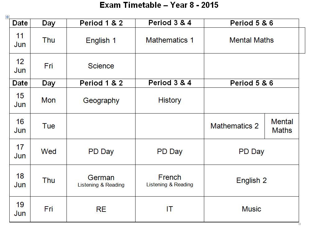 Y8 Exams 2015