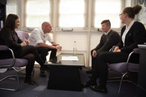 Students meeting with Mr Doherty
