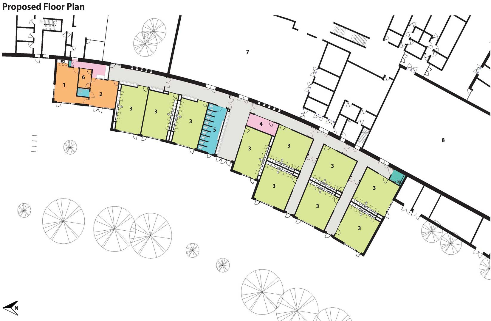 A plan showing the interior of the expansion.