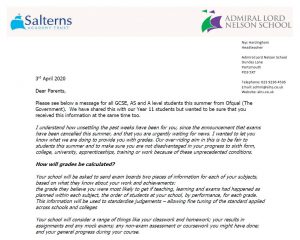 Letter to Year 11 parents regarding GCSE grades