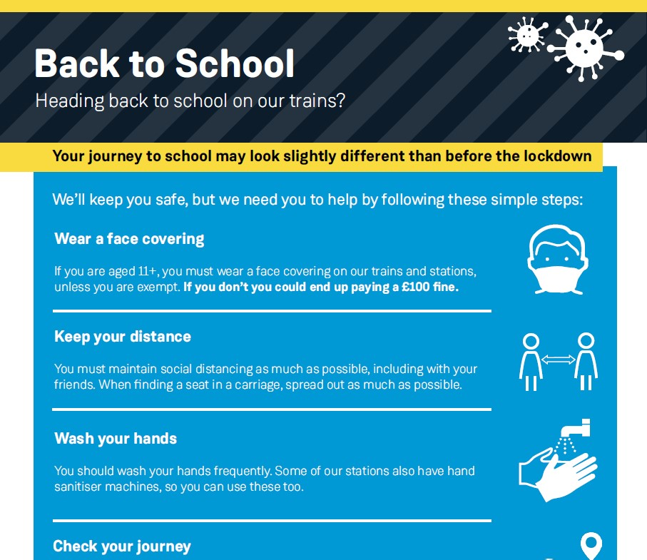 Travel advice for students travelling by train on South Western Railway from September 2020