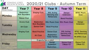 Clubs for Autumn Term 2020-21
